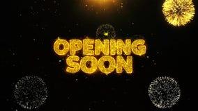 Otwierający Wkrótce Życzy powitanie kartę, zaproszenie, świętowanie fajerwerk Zapętlający