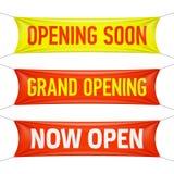 Otwierający Wkrótce, Uroczysty otwarcie i Teraz Otwiera sztandary Obraz Stock