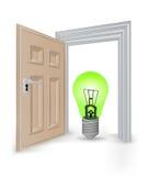 Otwieram odizolowywał drzwi ramę z zielonym ekologicznym żarówka wektorem royalty ilustracja