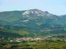 Otxandio village and Gorbea. Mountain stock photos