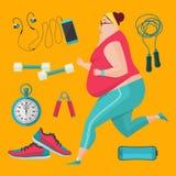 Otyłe kobiety jogging gubić ciężar Fotografia Royalty Free
