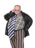 Otyły mężczyzna z oburzającym moda sensem Zdjęcie Stock