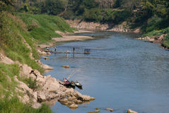 OU de Nam do rio em Luang Prabang, Laos Foto de Stock Royalty Free