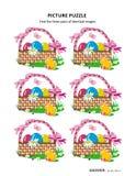 A4 ou a letra fizeram sob medida o enigma da imagem com cestas da Páscoa ilustração stock