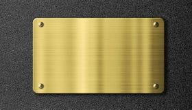 Or ou plaque de métal de signe de laiton Images stock