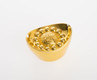 Or ou symboles chinois de moyen de lingot d'or de la richesse et de la prospérité Image libre de droits