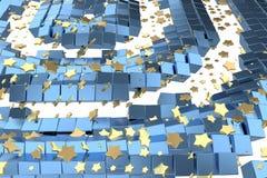 Or ou vol d'étoiles de platine au-dessus de l'espace de matrice de fond blanc et de boîte bleue Modélisation de l'illustration 3d photo libre de droits