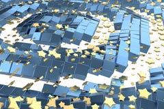 Or ou vol d'étoiles de platine au-dessus de l'espace de matrice de fond blanc et de boîte bleue Modélisation de l'illustration 3d illustration libre de droits