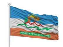Ou Yehuda City Flag On Flagpole, Israel, isolada no fundo branco ilustração stock