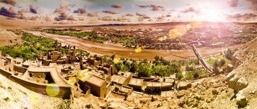 Ouarzazate Maroko architektura i podróże Wioska i rzeka Zdjęcie Royalty Free