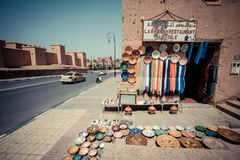 OUARZAZATE, MOROCCO, JUNE 2016: traditional shop in the old mark Royalty Free Stock Image