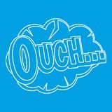 Ouch, comic text speech bubble icon, outline style. Ouch, comic text speech bubble icon blue outline style isolated vector illustration. Thin line sign Stock Photos