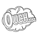 Ouch, comic text speech bubble icon, outline style Royalty Free Stock Photography