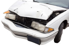 Ouch...Crumpled Car Hood. Ouch...Crumpled front of car involved in auto accident. Isolated stock photo