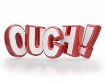Ouch 3D słów Czerwoni listy Bolą urazu kaleczenie Fotografia Royalty Free