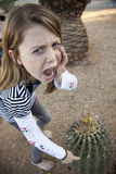 Ouch Don't Touch the Cactus Stock Photography