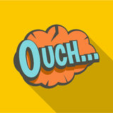Ouch, speech bubble icon, flat style Stock Photography