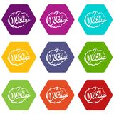 Ouch, speech cloud icon set color hexahedron. Ouch, speech cloud icon set many color hexahedron isolated on white vector illustration Royalty Free Stock Photo