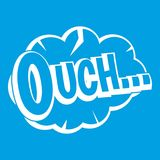 Ouch, speech cloud icon white. Isolated on blue background vector illustration Royalty Free Stock Photos