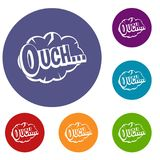 Ouch, speech cloud icons set. In flat circle red, blue and green color for web Stock Images