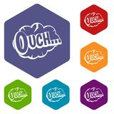 Ouch, speech cloud icons set hexagon. Isolated vector illustration Stock Image