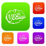 Ouch, speech cloud set color collection. Ouch, speech cloud set icon color in flat style isolated on white. Collection sings vector illustration Royalty Free Stock Photos