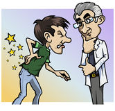 Ouch! What a pain, doctor!. Cartoon-style illustration: a patient with a terrible backache, the doctor by his side Royalty Free Stock Photo