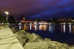Ouchi at morning. Ouchy panoramic at sunrise, beautiful purple sky and water reflection. City of Lausanne, canton Vaud, Switzerland Stock Photo