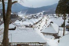 Ouchijuku på Fukushima, Japan Arkivbilder