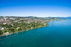 Ouchy江边鸟瞰图在洛桑在瑞士 免版税库存图片