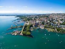 Ouchy江边鸟瞰图在洛桑,瑞士 免版税库存照片