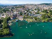 Ouchy江边鸟瞰图在洛桑,瑞士 免版税库存图片