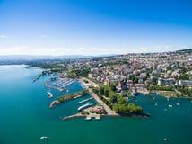 Ouchy江边鸟瞰图在洛桑,瑞士 库存照片