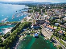 Ouchy江边鸟瞰图在洛桑,瑞士 免版税图库摄影