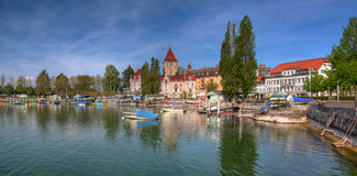 Ouchy panorama HDR, Lausanne, Switzerland. The ancient fishing port of Lausanne city, Ouchy is now a popular resort area with extensive gardens, hotels and royalty free stock image