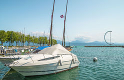 Ouchy port marina in Lausanne Royalty Free Stock Photo