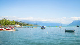 Ouchy portmarina i Lausanne Royaltyfria Foton