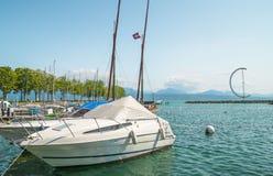 Ouchy portmarina i Lausanne Royaltyfri Foto