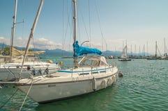 Ouchy portmarina i Lausanne Arkivfoton