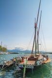 Ouchy portmarina i Lausanne Fotografering för Bildbyråer