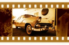 Oud 35mm frame met retro auto van de V.S. Royalty-vrije Stock Afbeelding