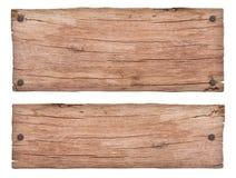 Oud aard houten teken met spijkers royalty-vrije stock afbeeldingen