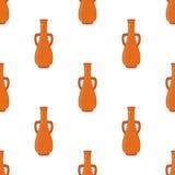 Oud aardewerk naadloos patroon, vaas, kruik, amfora Beeldverhaal vlakke stijl stock illustratie