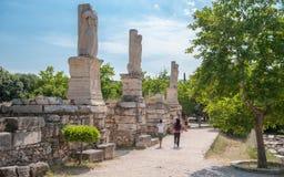 Oud Agora van Athene stock afbeelding