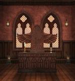 Oud altaar in een middeleeuwse crypt royalty-vrije illustratie