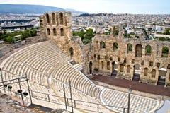 Oud amfitheater bij Akropolis, Athene, Griekenland Royalty-vrije Stock Foto's