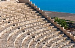 Oud amfitheater in Kourion, Cyrpus royalty-vrije stock foto