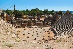 Oud amfitheater in Myra, Turkije Royalty-vrije Stock Foto's