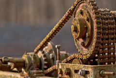 Oud & Roestig machinedeel stock foto's