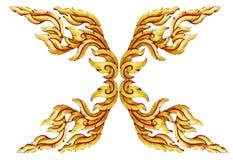 Oud antiek gouden Thais geïsoleerd de stijlpatroon van kader Houten deuren stock afbeeldingen